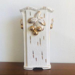 Mid century modern white and gold cherry vase